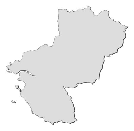 Map of Pays de la Loire, a region of France. Vector