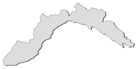Map of Liguria, a region of Italy.