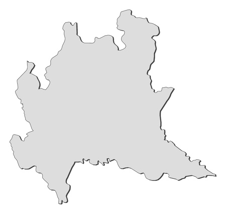 Map of Lombardy, a region of Italy. Vector