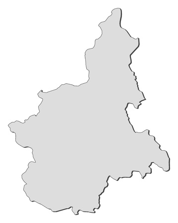 emphasize: Map of Piedmont, a region of Italy.