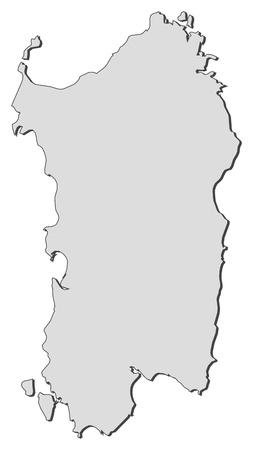 Carte de la Sardaigne, une région de l'Italie. Banque d'images - 14396182