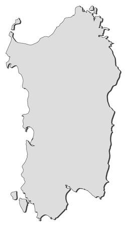 emphasize: Map of Sardinia, a region of Italy. Illustration