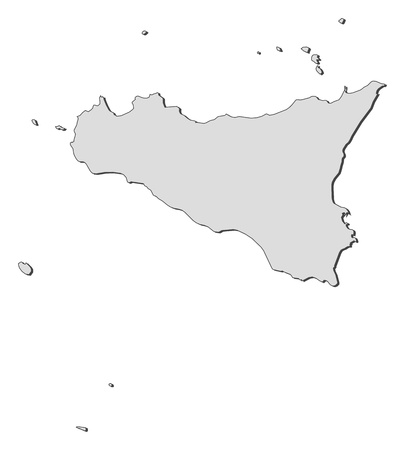 emphasize: Map of Sicily, a region of Italy.