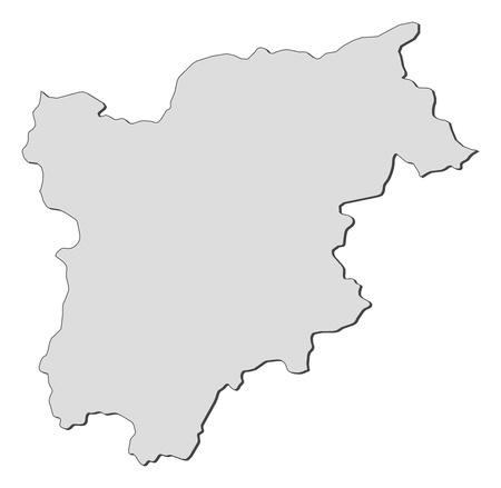 Map of Trentino-Alto Adige Suedtirol, a region of Italy. Vector Illustration