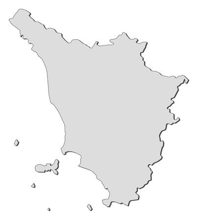 Carte de la Toscane, une région de l'Italie. Banque d'images - 14396196