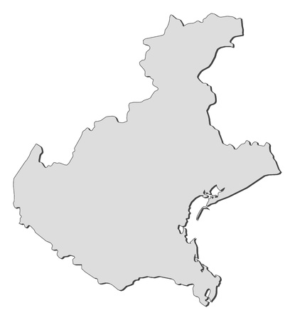 emphasize: Map of Veneto, a region of Italy.