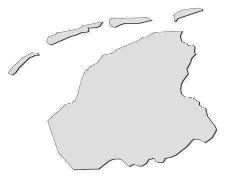 Map of Friesland, a province of Netherlands.
