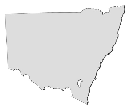 Map of New South Wales, a state of Australia. Ilustração