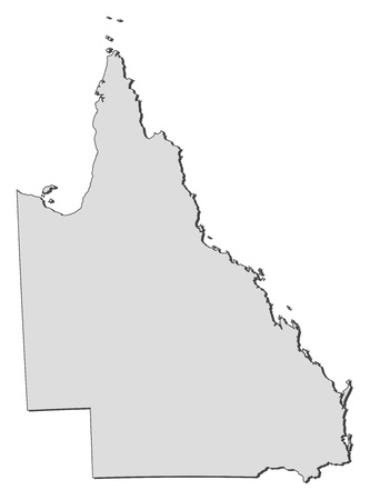 Map of Queensland, a state of Australia. Illustration