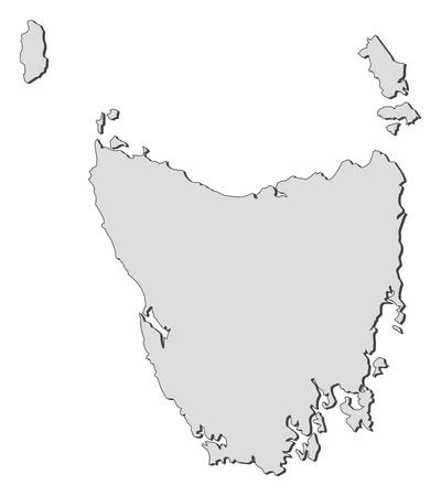 tasmania: Map of Tasmania, a state of Australia.