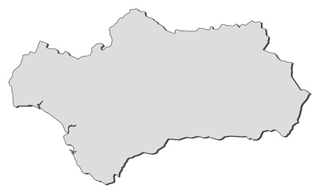 Map of Andalusia, a region of Spain. Vector