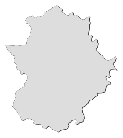 Map of Extremadura, a region of Spain.
