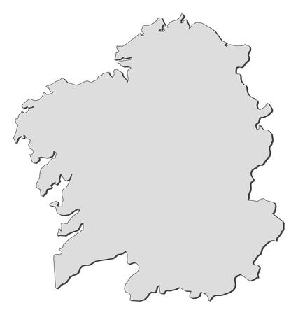 Carte de Galice, une région de l'Espagne.