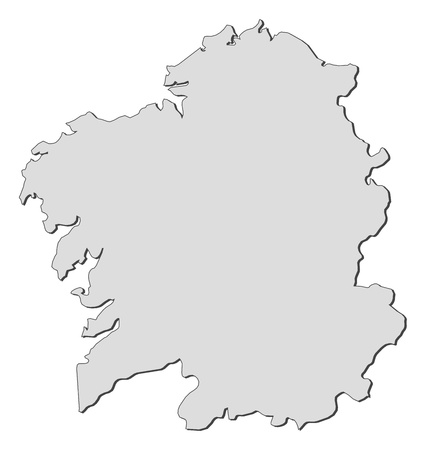 Map of Galicia, a region of Spain. Vector