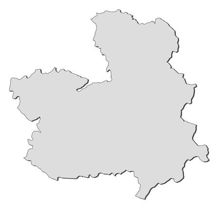 ntilde: Map of Castile-La Mancha, a region of Spain. Illustration