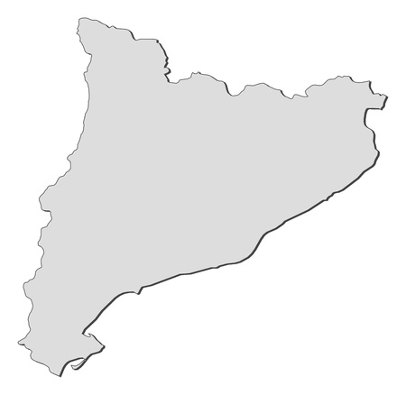 Map of Catalonia, a region of Spain. Ilustração