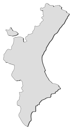 Map of Valencian Community, a region of Spain. Ilustração