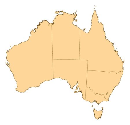 australie: Map of Australia with the several provinces.