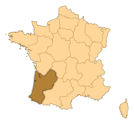 Map of France where Aquitaine is highlighted. photo