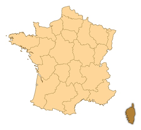 Map of France where Corsica is highlighted. photo