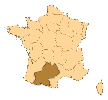 Map of France where Midi-Pyr�n�es is highlighted. Stock Photo - 14415100