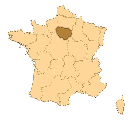 Map of France where Île-de-France is highlighted. Stock Photo - 14415079