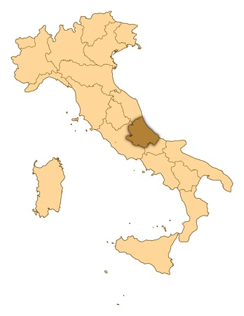 abruzzo: Map of Italy where Abruzzo is highlighted. Stock Photo