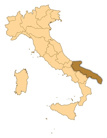 apulia: Map of Italy where Apulia is highlighted.