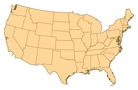 Carte des Etats-Unis avec les provinces plusieurs. Banque d'images - 14449846