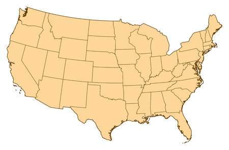 Map of United States with the several provinces. Illustration