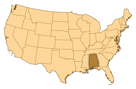 Map of United States where Alabama is highlighted. photo