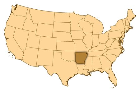 Map of United States where Arkansas is highlighted. photo