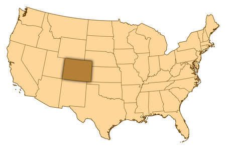 Map of United States where Colorado is highlighted. photo