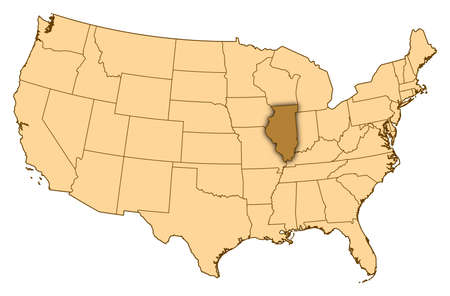 Map of United States where Illinois is highlighted. photo