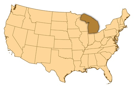 Mapa de Michigan, Estados Unidos, donde se resalta. photo