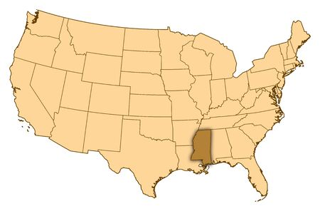 Mapa de Estados Unidos, donde se pone de relieve Mississippi. photo