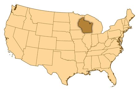 Map Of United States Where Wisconsin Is Highlighted Stock Photo - Wisconsin on a us map