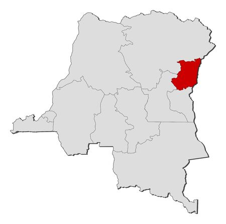 republique: Political map of Democratic Republic of the Congo with the several provinces where North Kivu is highlighted.