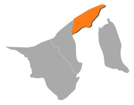 southeastern asia: Map of Brunei where Brunei-Muara is highlighted. Illustration