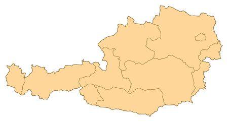 Kaart van Oostenrijk met de verschillende provincies.