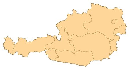 austria: Map of Austria with the several provinces. Illustration