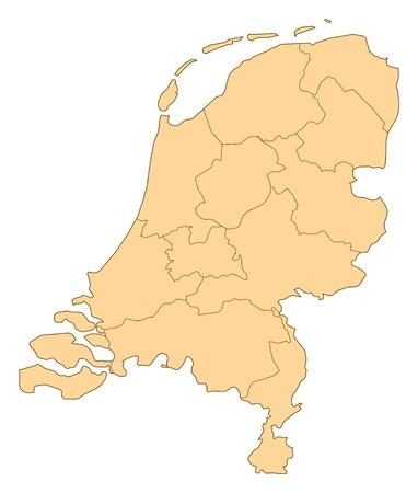 niederlande: Karte der Niederlande mit den verschiedenen Provinzen. Illustration
