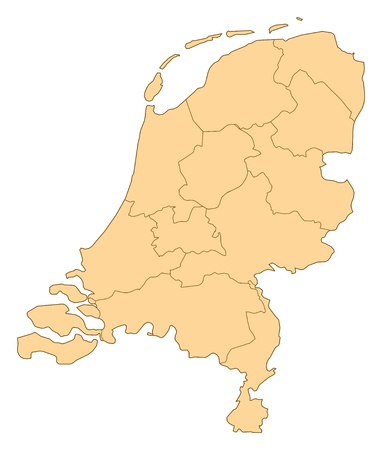 Map of Netherlands with the several provinces.
