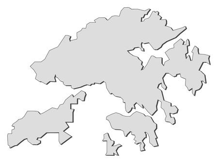 land mark: Mapa de Hong Kong, una provincia de China.