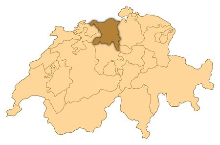 Map of Switzerland where Aargau is highlighted. photo