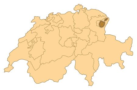 Map of Switzerland where Appenzell Innerrhoden is highlighted. photo