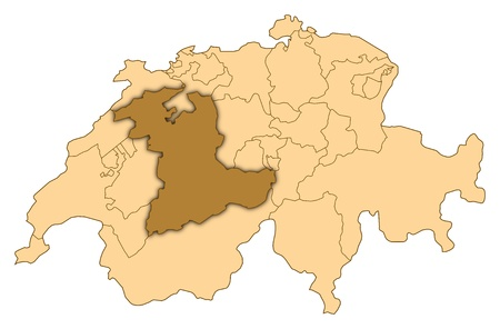 Map of Switzerland where Bern is highlighted. photo