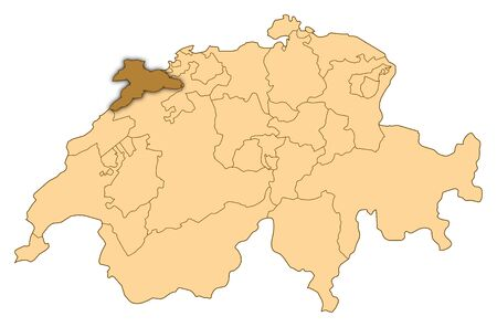 Map of Switzerland where Jura is highlighted. photo