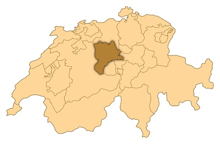 Map of Switzerland where Lucerne is highlighted. photo