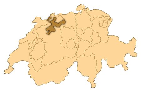 Map of Switzerland where Soleure is highlighted. photo